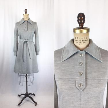 Vintage 60s dress | Vintage grey heather wool knit dress | 1960s Pedestal Originals shirt dress by BeeandMason