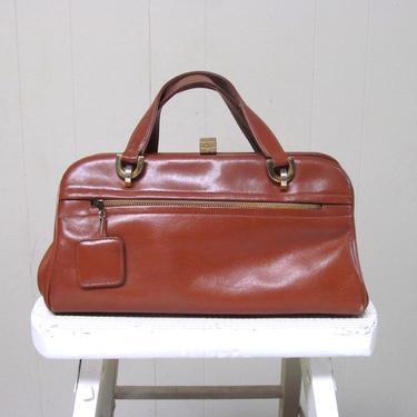 Vintage 1950s Brown Leather Purse, 50s Chestnut Birkin Style Top Handle Bag, Mid-Century Saks Fifth Avenue Handbag by RanchQueenVintage