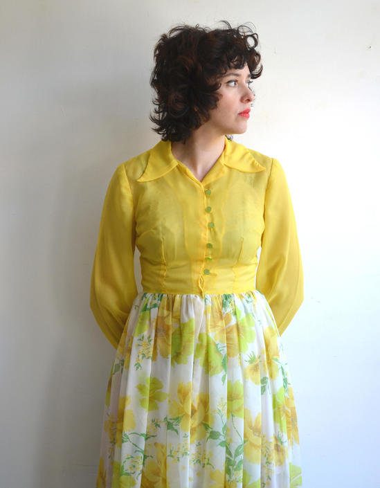 d3b9970757901a Vintage 70s Sheer Floral Maxi Dress/ Chiffon Long Sleeve Yellow Boho ...