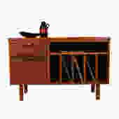 Mid Century Modern Open Media \/ Vinyl \/ Office Storage