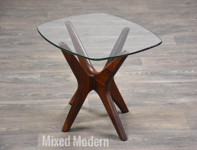 Adrian Pearsall Jacks Walnut and Glass End Table by mixedmodern1