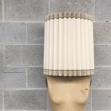 Vintage Lampshade Retro 1960s Mid Century Modern + Beige + Hard Pleat + Barrel Shaped + Fabric Shade + Table Lamp + Home Decor and Lighting by RetrospectVintage215