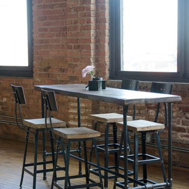 Industrial Bar Height or Counter Height Table made with reclaimed wood & iron pipe legs. Custom orders welcome. Choose size, height, finish by UrbanWoodGoods