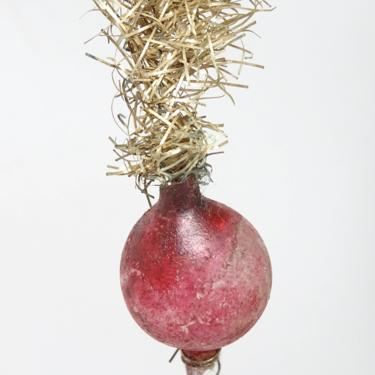 Early 1900's Victorian Christmas Ornament, Antique Mercury Glass Ball and Tinsel Hanger by exploremag