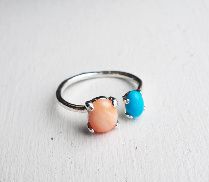 Sterling Dual Ring with Coral and Turquoise by RachelPfefferDesigns