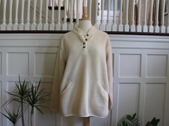 Vintage Half Button Pullover Off White Fleece Jacket Women's Size M by NeonSkyVintageMN