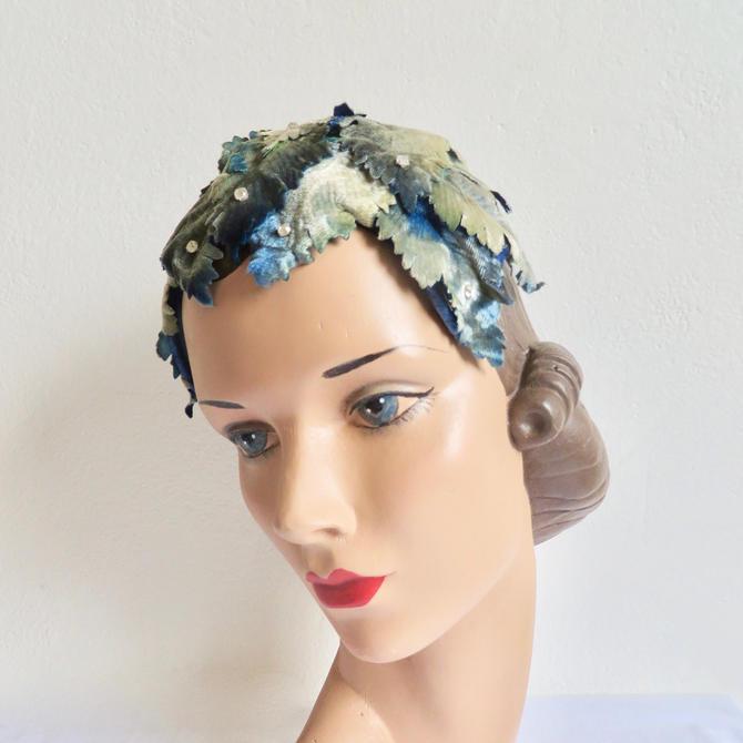 Vintage 1950's Blue Gray Velvet Leaves Fascinator Mini Hat Rhinestone Trim Rockabilly Wedding Bridal Spring 50's Millinery Peck & Peck by seekcollect