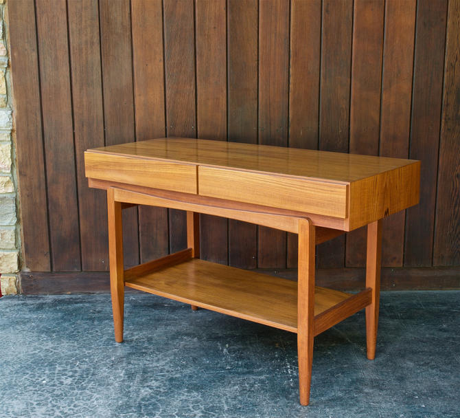 1960s Larsen Danish Teak Console Vintage Scandinavian Entryway Table Faarup Mobler Mid-Century Modern by BrainWashington