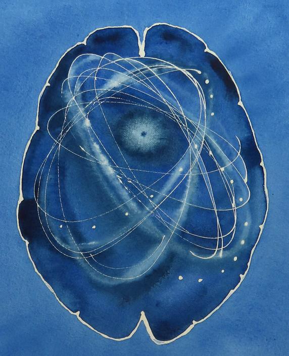 Cosmic Exploration Brain -  original watercolor painting - neuroscience art by artologica