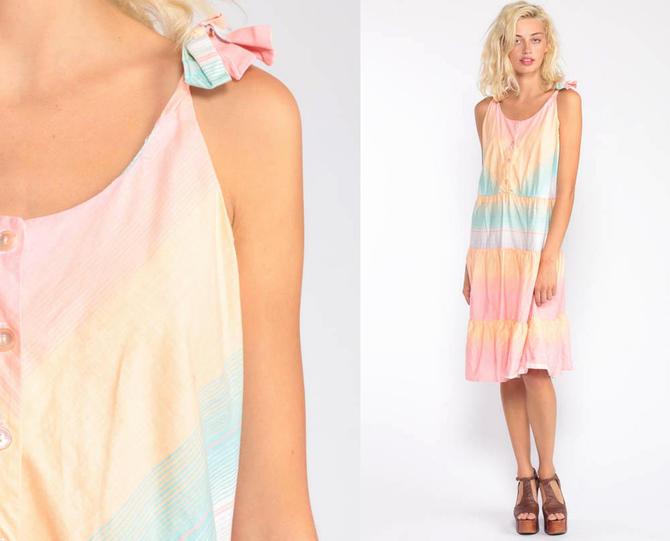 ae4c0c915b8 Sundress Rainbow Dress 70s Boho Striped CHEVRON Midi Sun Dress Summer Dress  1970s Hippie Bohemian High