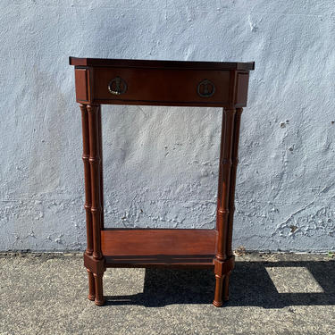 Faux Bamboo Nightstand Vintage Bedside Wood Table Accent End Side Chippendale Beachy Chinoiserie Boho Chic Bahama Rattan CUSTOM PAINT AVAIL by DejaVuDecors