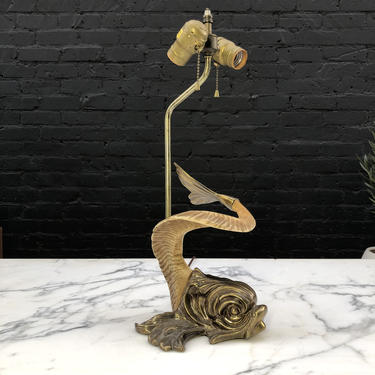 Mid-Century Modern Brass Dolphin Motif Table Lamp by Chapman c.1977 by VintageSupplyLA