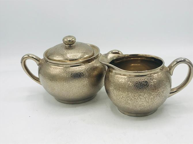 Vintage Peacock China  McCOURT Studios Textured Silver Glaze Porcelain Sugar Bowl and Creamer Set by JoAnntiques