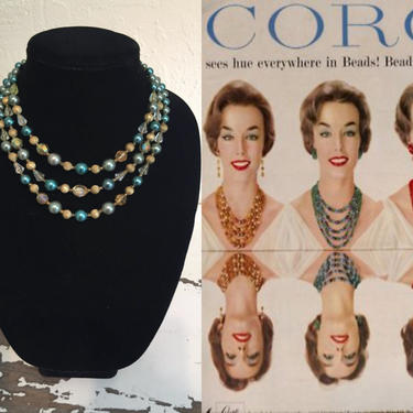 Inner Reflections - Vintage 1950s 1960s Aqua Turquoise Faux Pearl & Gold Filigree Strand Necklace by RoadsLessTravelled2