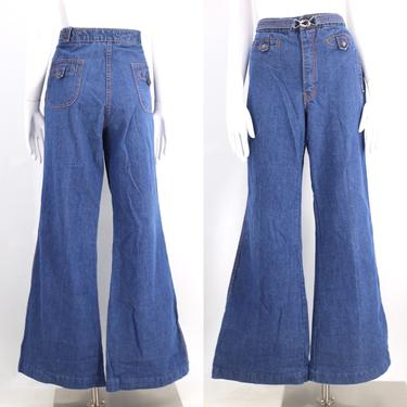 70s HORIZON high waisted denim bell bottoms jeans 36  / vintage 1970s buckle flares pants sz Large XL by ritualvintage