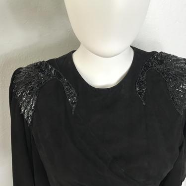 Vtg 80s avant garde EREZ black suede gathered dress with sequin birds SM by AnimalVintageMiami