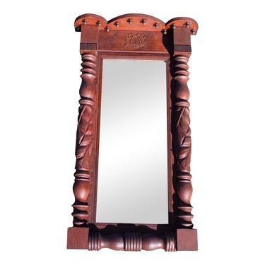 19th C Antique Victorian Pier Mirror Mahogany Baluster Mercury Glass