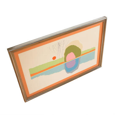 Vintage Mid Century Abstract Shapes Calvin Libby Artwork