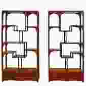 Chinese Pair Rosewood Display Curio Cabinets Room Divider cs4947S
