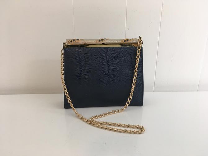 Vintage Navy Blue Leather Handbag Leather Snakeskin Purse Mod Shoulder Bag 1950s 1960s Gold Chain Strap Evening Cocktail by CheckEngineVintage