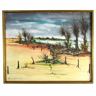 Emil Gerard Midcentury Modern Abstract Oil Painting Lagoon Dune Landscape by PrairielandArt