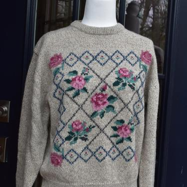 1989 Eddie Bauer Floral Design Wool Sweater   Beige Pink Green Wool Knit Crew Neck Pullover   Tag Size Medium   Flowers Trellis Rose Pattern by LostandFoundHandwrks