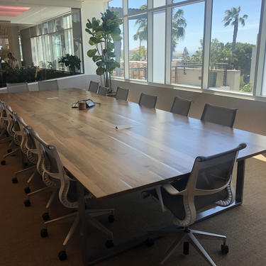Reclaimed White Oak Conference Table with modern knife edge. Data/Power hubs customizable. Low VOC Waterbourne finish. by UrbanWoodGoods