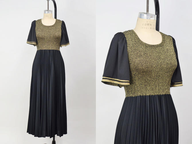 Vintage 1970s Black & Gold Lurex Pleated Maxi Dress, 70s Maxi Dress, Disco Groovy, Size Small/Medium by MobyDickVintage