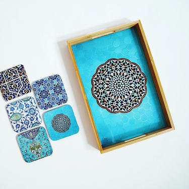 Gift Set: Persian Tile Tray with 5 coasters by KaashiFurniture