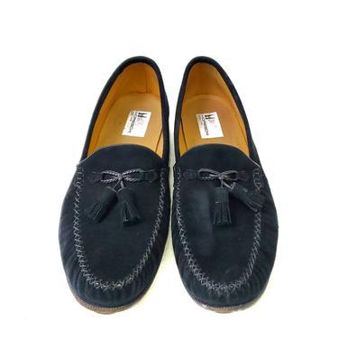 Moreschi Shoes Genuine Suede Men's 11.5 Black Tassel Loafer Leather Slip On by MakingMidCenturyMod