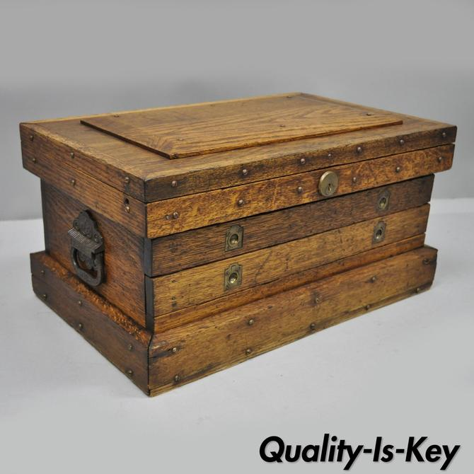 Antique Oak Wood Campaign Style Tool Storage Work Chest Silverware Box 2 Drawers