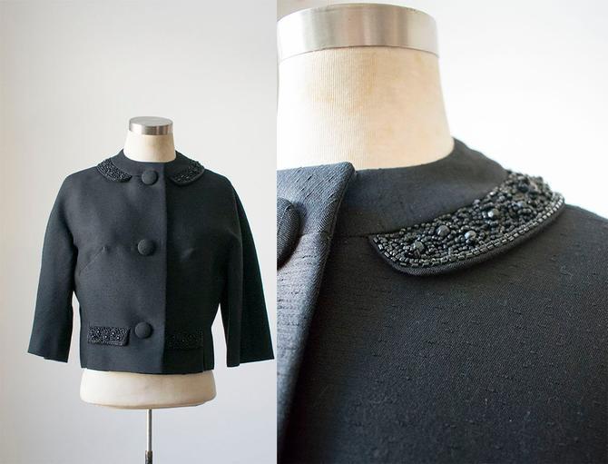 1940s Black Suit Jacket / 1940s Womens Suit / Cropped 40s Suit Jacket / 1940s Beaded Jacket / True Vintage Jacket / Evening Jacket by milkandice