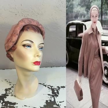 My Driver Shall Wait - Vintage 1950s Dusty Pink Velour & Beaded Sculpted Caplet Hat by RoadsLessTravelled2