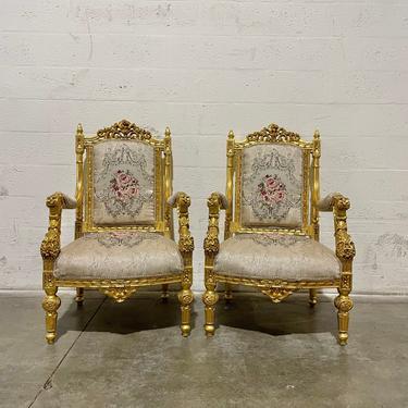 French Tufted Chair *3 Piece Set* French Settee Tufted Vintage Furniture Antique Baroque Furniture Rococo Interior Design Vintage Chair by SittinPrettyByMyleen