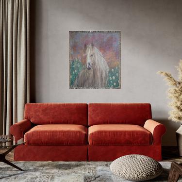 Horse Print Woven Blanket ~ Horse Wall Art ~ Horse Tapestry ~ Western ~ Original Art ~ Animal Print Wall Art ~ Horses by DareToBeVintage