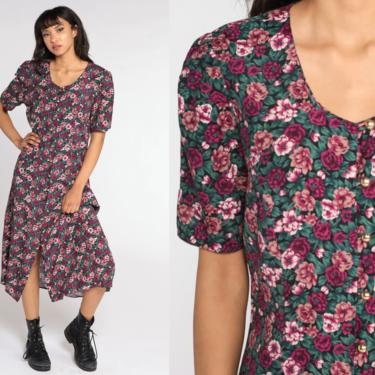 90s Floral Dress Pink Grunge Dress Print Button Up Boho Midi Puff Sleeve 1990s Vintage Sheath Bohemian Short Sleeve Lace Up Large by ShopExile