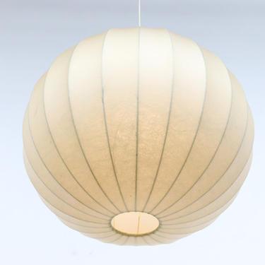George Nelson Style 1960's Goldkant Leuchten 'Cocoon' Pendant Lamp