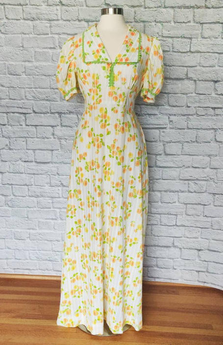 Vintage 70s Floral Empire Waist Dress // Puffed Sleeves Floor Length by GemVintageMN