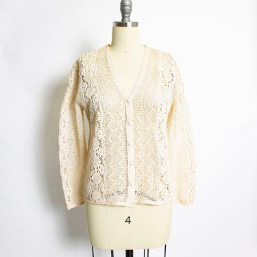Vintage 1970s Crochet Blouse Semi Sheer Cream Top 70s Small by dejavintageboutique