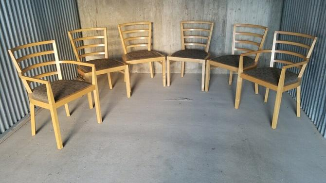 Vintage Blonde Curved Ladder Back Knoll Studio 1991 Dining Chairs by Raul De Armas
