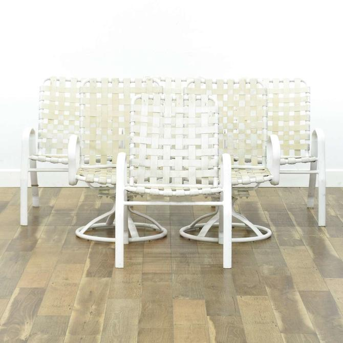 Set Of 6 Mid Century White Patio Chairs