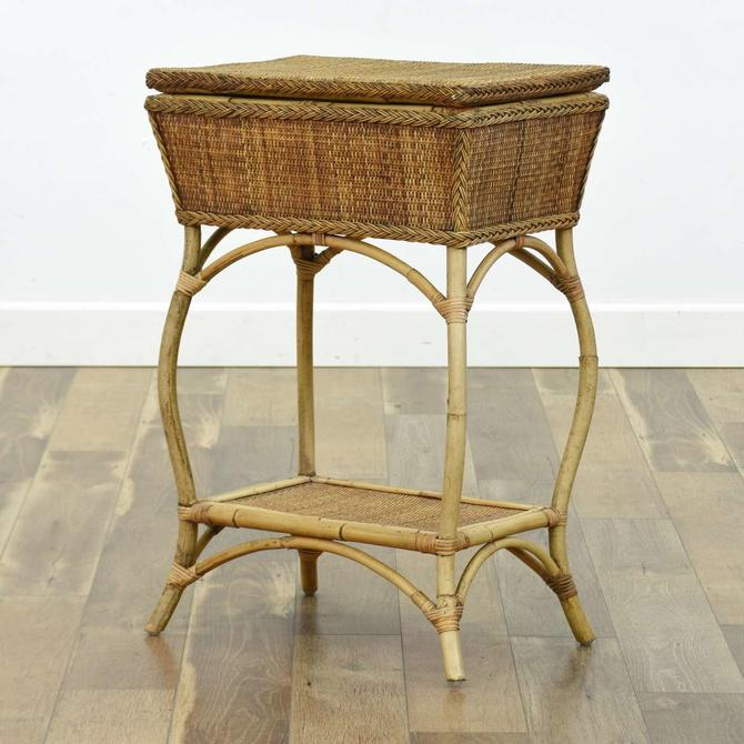 Rattan Willow Basket Console End Table W Storage