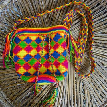 "Vintage woven hippie purse 10x10"" unique NEON cotton shoulder bag or small crossbody festival, geometric Wayuu Mochila fabric tote Colombia by forestfathers"