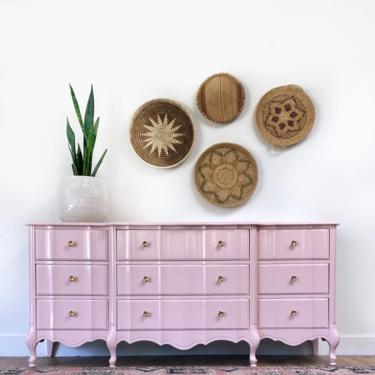 AVAILABLE-  Pink Dresser with Marble inserts on top! by JulieSimpleRedesign