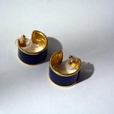 vintage 1980s black gold huggy Hoops earrings 80s new wave 90s 1990s avant-garde statement earring large ooak chic by levintagecult