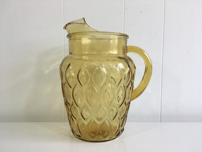 Vintage Yellow Glass Pitcher Sunshine 1970s Iced Tea Lemonade Mid-Century Colorful Home Decor Serving Dinner Party MCM Beach BBQ Picnic by CheckEngineVintage