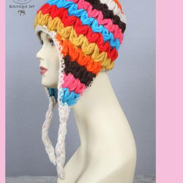 Vintage Knit Hat, Warm Ski Winter Hat, Beanie Skullcap, 60's, 70's , Stripe Colorful Wool 1970's Hippie Boho Crochet Hat, Ear Covers by Boutique369