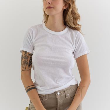Vintage Cotton White Crew Neck Tee T Shirt   Banded Neckline   XXS XS   by RAWSONSTUDIO