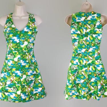 VINTAGE 60s Op-Art Print Barkcloth Hawaiian Mini Dress | 1960s Flirty Fit & Flare Green Print Scooter Dress | Cotton Made in Hawaii RN 37359 by IntrigueU4Ever
