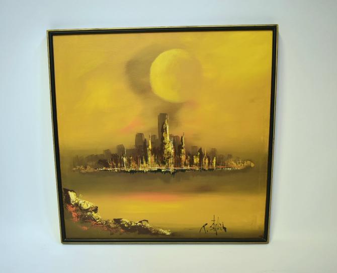Mid-century Modern Cityscape Original Painting